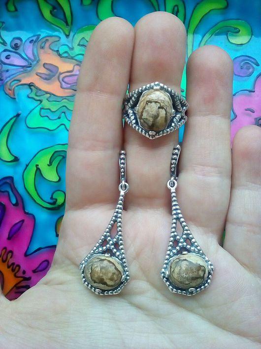 Комплекты украшений ручной работы. Ярмарка Мастеров - ручная работа. Купить 272 Комплект серебрение серьги и кольцо с камнями.. Handmade.