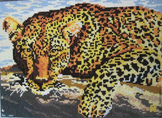 Животные ручной работы. Ярмарка Мастеров - ручная работа. Купить Леопард. Вышитая картина. Handmade. Разноцветный, вышивка крестиком, леопард