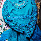 Одежда handmade. Livemaster - original item Turquoise knee length dress with embroidery and a wide belt. Handmade.