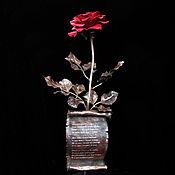 Медная роза с кованым свитком