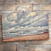 Картины и панно handmade. Livemaster - original item Painting acrylic Cloudy (seascape, grey, beige). Handmade.