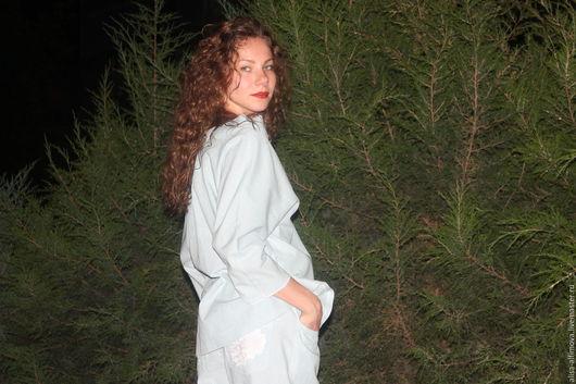 Костюмы ручной работы. Ярмарка Мастеров - ручная работа. Купить Джинсовый летний костюм (бойфренды+рубашка-оверсайз). Handmade. Голубой