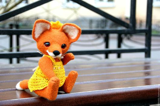 Мишки Тедди ручной работы. Ярмарка Мастеров - ручная работа. Купить Лиса войлочная в платье - валяная игрушка. Handmade.