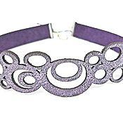 Украшения handmade. Livemaster - original item Choker leather. Openwork, abstract, lilac, purple choker.. Handmade.