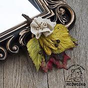 Украшения handmade. Livemaster - original item Brooch leather Autumn bouquet. Handmade.