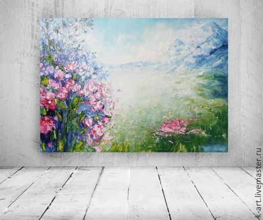 Пейзаж ручной работы. Ярмарка Мастеров - ручная работа. Купить Туман. Handmade. Розовый, розы, масло