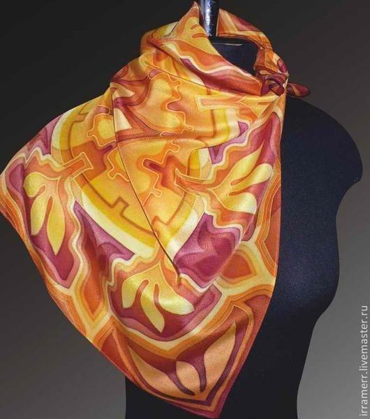 """Шали, палантины ручной работы. Ярмарка Мастеров - ручная работа. Купить шейный платок """"Желто-коричневый"""". Handmade. Желтый"""