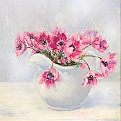 Картины и панно handmade. Livemaster - original item Oil painting Forest anemones still life. Handmade.