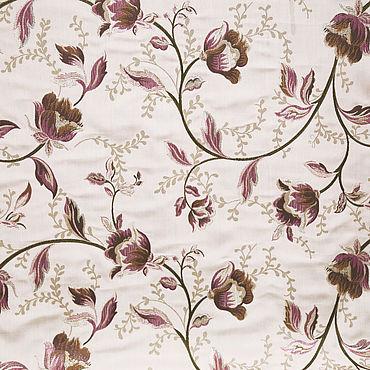 Текстиль ручной работы. Ярмарка Мастеров - ручная работа Жаккард с розовыми цветами. Отделка для шторы или покрывала. Handmade.