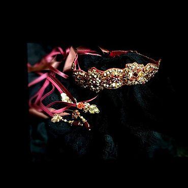 Украшения ручной работы. Ярмарка Мастеров - ручная работа Повязка Вечерняя гранатовая. Handmade.