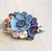 Украшения ручной работы. Ярмарка Мастеров - ручная работа Заколка для волос с цветами из полимерной глины Голубой мак. Handmade.