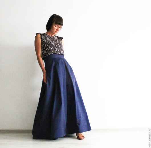 Юбки ручной работы. Ярмарка Мастеров - ручная работа. Купить Длинная юбка из шелка и хлопка на лето. Handmade.