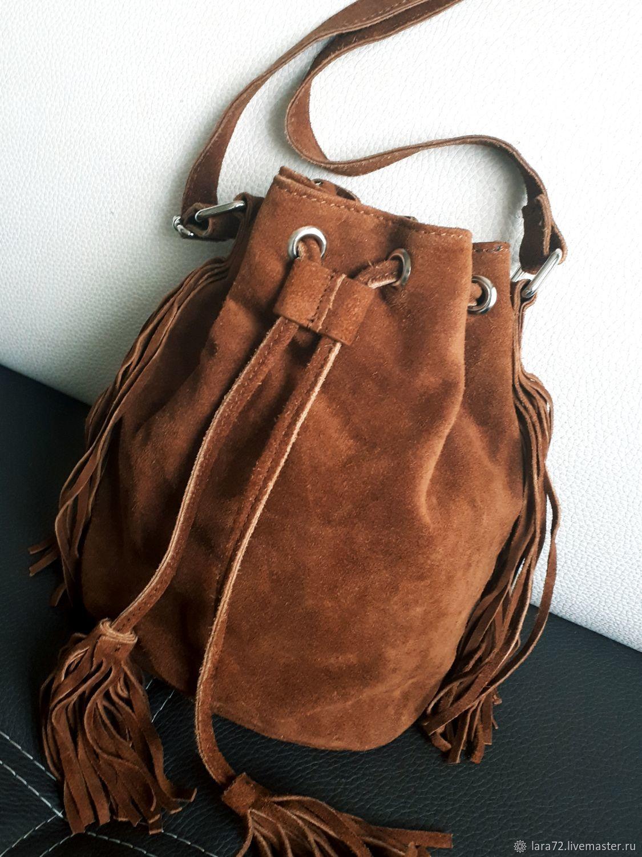купить сумку мешок натуральная замша