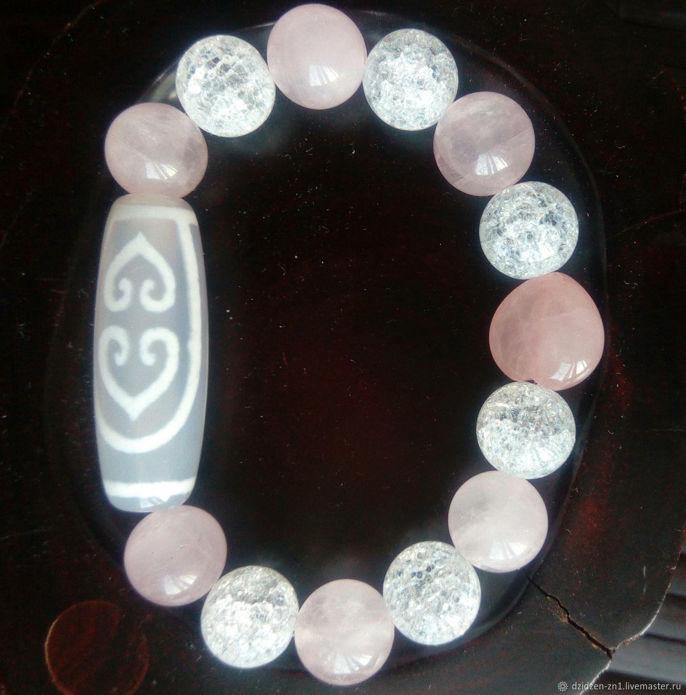 Бусина Дзи  2 сердца Будды в браслете с розовым кварцем, Бусина Дзи, Владивосток,  Фото №1