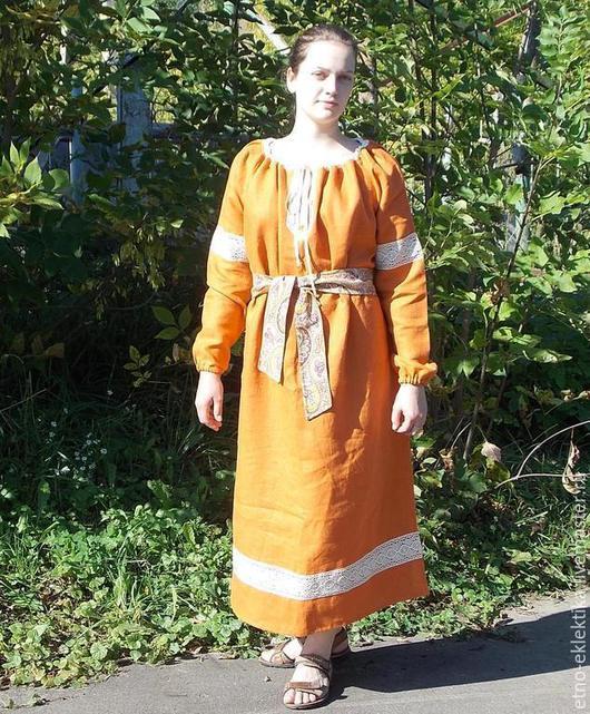 """Этническая одежда ручной работы. Ярмарка Мастеров - ручная работа. Купить Женская длинная рубаха """"Осенняя""""в русском стиле. Handmade."""