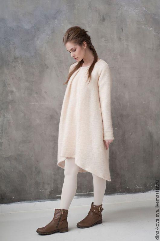 Платья ручной работы. Ярмарка Мастеров - ручная работа. Купить Платье-одеялко). Handmade. Однотонный, облака, бежевый, шерсть