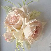 Украшения handmade. Livemaster - original item Silk flowers. Brooch hairpin VIRGINIA  . Natural silk.. Handmade.