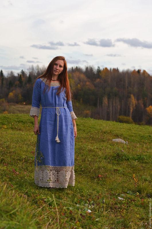 Льняное платье ручной работы, платье в русском стиле, платья и сарафаны из льна, автор Юлия Льняная сказка
