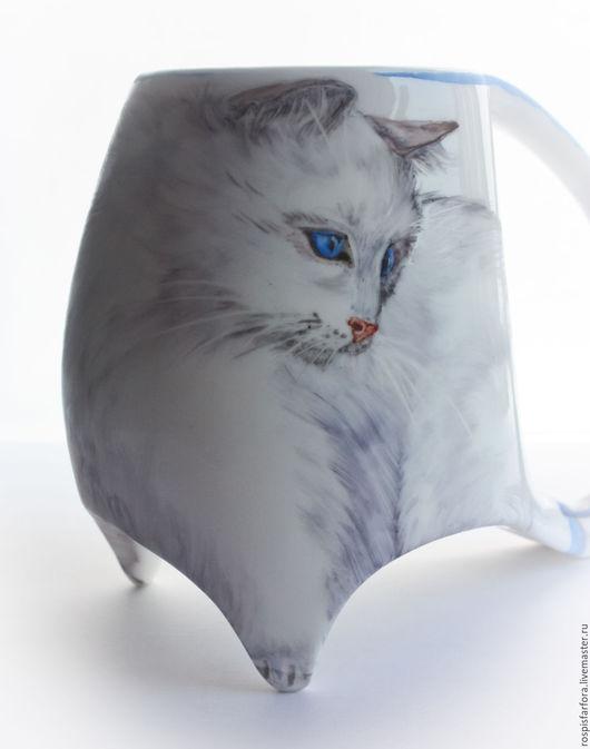 Кружки и чашки ручной работы. Ярмарка Мастеров - ручная работа. Купить Коточашка Кошка со стрекозами. Handmade. Кошка