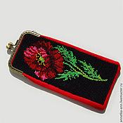Сумки и аксессуары handmade. Livemaster - original item The beaded eyeglass case (glasses case), a Scarlet poppy. Handmade.