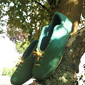 """Обувь ручной работы. Ярмарка Мастеров - ручная работа Тапочки валяные """"Зеленые очень!"""". Handmade."""