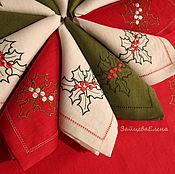 Для дома и интерьера ручной работы. Ярмарка Мастеров - ручная работа Салфетка с вышивкой Омела. Handmade.