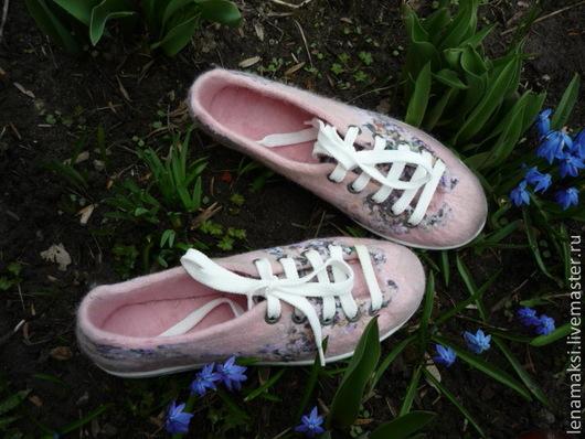 """Обувь ручной работы. Ярмарка Мастеров - ручная работа. Купить Кеды """"Янкина полянка"""". Handmade. Бледно-розовый"""