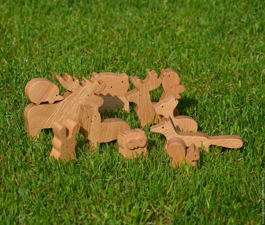 Игрушки животные, ручной работы. Ярмарка Мастеров - ручная работа. Купить Игрушки из бука Лесные животные (лось, волк,лиса и др). Handmade.