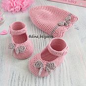 Работы для детей, handmade. Livemaster - original item Panama and booties for girls, knitted set pink. Handmade.