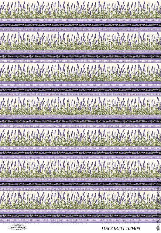 Декупаж и роспись ручной работы. Ярмарка Мастеров - ручная работа. Купить Лавандовый бордюр (D100405 new) - рисовая бумага, А4. Handmade.