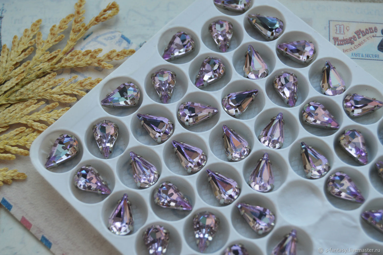 Drop 6h10 mm lilac LUX, Cabochons, Stavropol,  Фото №1