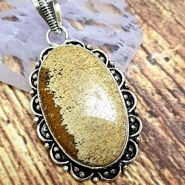 Decorations handmade. Livemaster - original item Silver plated pendant with natural Desert Jasper. Handmade.