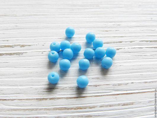 Гладкие круглые бусины цвет голубая бирюза, размер 4 мм (арт. 2278)