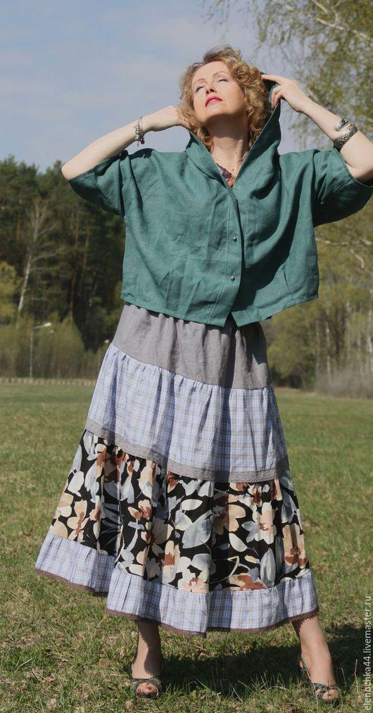 """Блузки ручной работы. Ярмарка Мастеров - ручная работа. Купить Куртка льняная """"Вояж"""" бирюза. Handmade. Бирюзовый, блуза лен"""