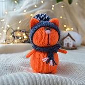 handmade. Livemaster - original item The Tangerine cat in the hat and the scarf. Handmade.