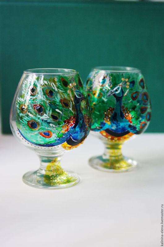 Бокалы, стаканы ручной работы. Ярмарка Мастеров - ручная работа. Купить Пара бокалов для коньяка Павлины. Handmade. Комбинированный