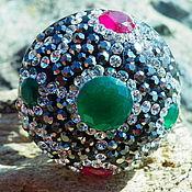 Украшения handmade. Livemaster - original item Bright oriental ring with emeralds and rubies, silver 925. Handmade.