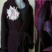 Одежда ручной работы. Ярмарка Мастеров - ручная работа Пальто вязаное женское BLACKBERRY с капюшоном демисезонное длинное. Handmade.
