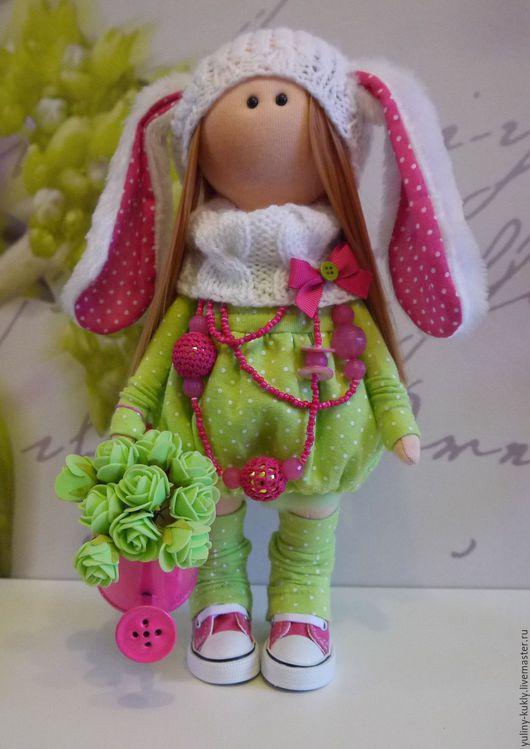 Коллекционные куклы ручной работы. Ярмарка Мастеров - ручная работа. Купить Текстильная куколка малышка Цвяточек. Handmade. Ярко-зелёный