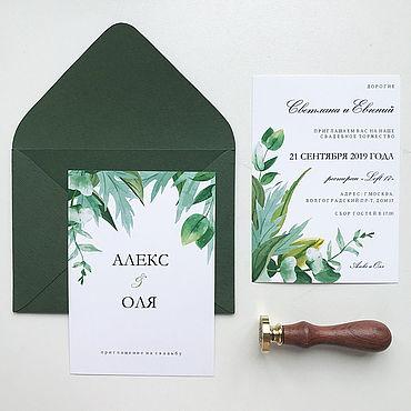 Свадебный салон ручной работы. Ярмарка Мастеров - ручная работа Приглашение в зеленом конверте. Handmade.