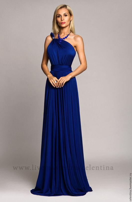 Летнее синее вечернее платье трансформер