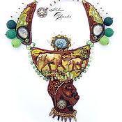 Украшения ручной работы. Ярмарка Мастеров - ручная работа Колье в этно-стиле, вышивка бисером, Африка,Слон,Саванна,Килиманджаро. Handmade.