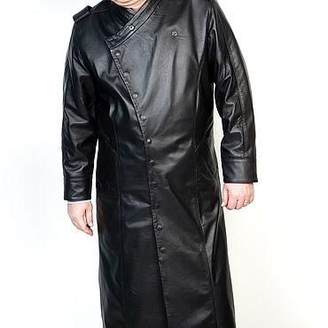 Одежда ручной работы. Ярмарка Мастеров - ручная работа Плащ мужской черный натуральная кожа. Handmade.
