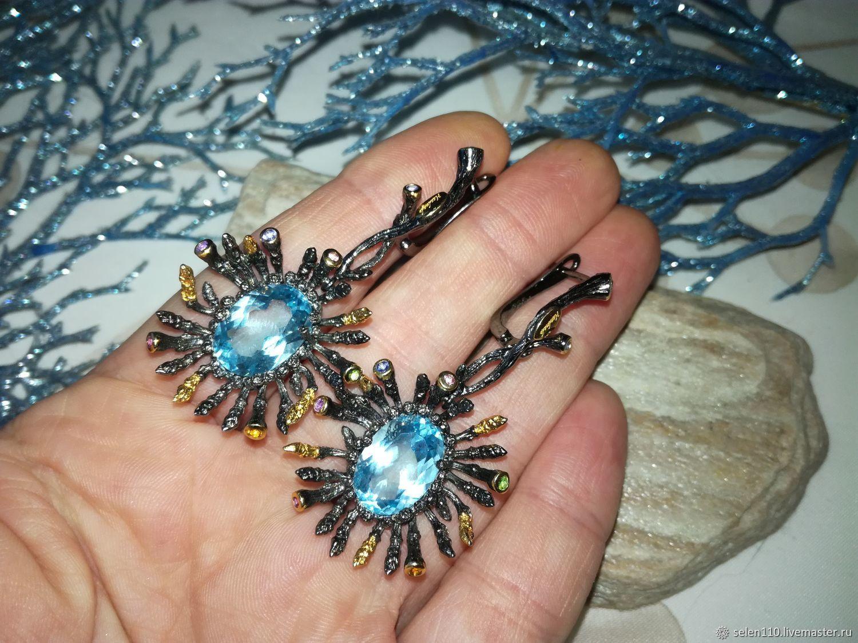 Earrings 'Star rain' with blue Topaz, Earrings, Voronezh,  Фото №1