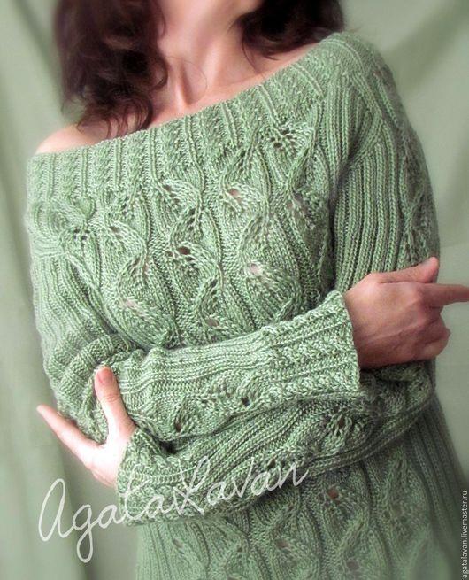 """Кофты и свитера ручной работы. Ярмарка Мастеров - ручная работа. Купить Свитер вязаный """"Весна"""". Handmade. Зеленый, длинный свитер"""