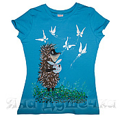 Одежда handmade. Livemaster - original item T-shirt  hand painted hedgehog in the fog. Handmade.
