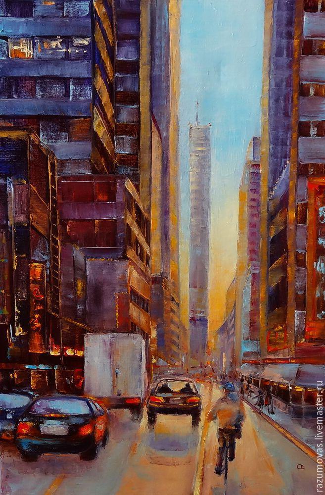 """Город ручной работы. Ярмарка Мастеров - ручная работа. Купить Картина маслом """"Закат в городе"""" 60 на 40. Handmade. Город"""