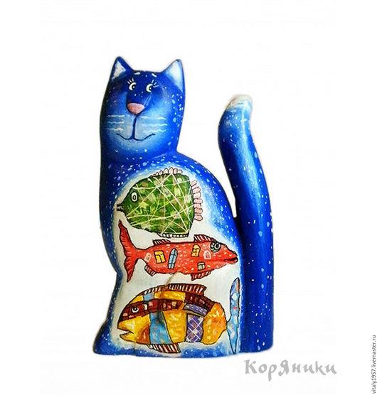 Игрушки животные, ручной работы. Ярмарка Мастеров - ручная работа. Купить Кот с рыбками. Скульптура, дерево, ручная роспись. Handmade.