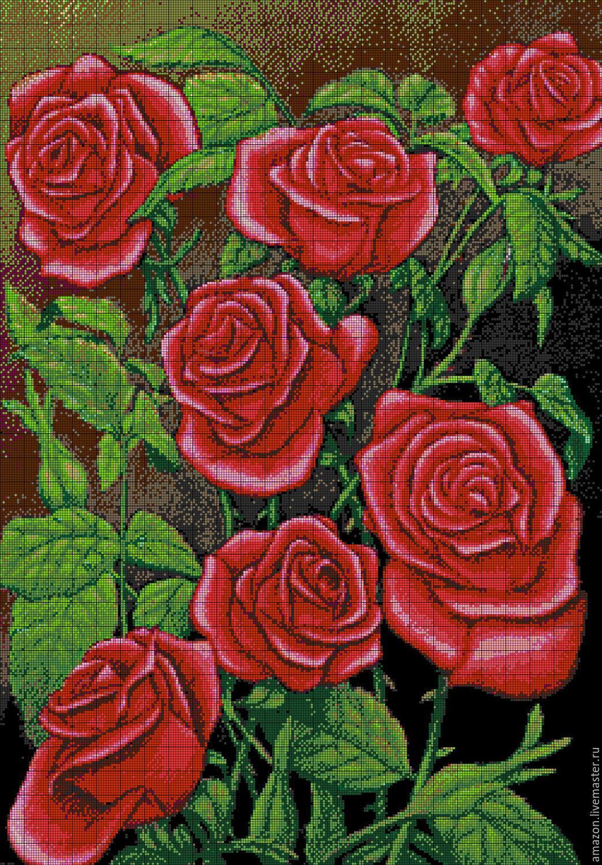 Вышивка черно красные розы