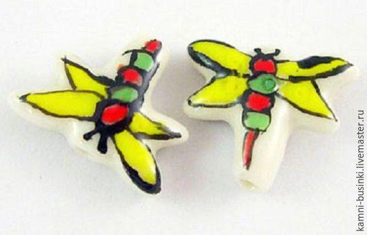 Керамические бусины стрекоза, летнее настроение. Керамические Бусины для колье, керамика бусины для браслетов, керамическая бусина для серег.